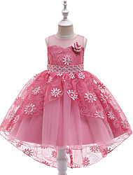 Недорогие -Дети Девочки Активный / Милая Однотонный Вышивка Без рукавов Ассиметричное Платье Красный