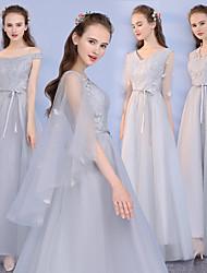 זול -צווארון V תחרה / טול שמלה לשושבינה  עם תחרה על ידי LAN TING Express