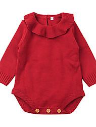 billige -Baby Jente Grunnleggende Ensfarget Drapering / Strikket / Grunnleggende Langermet Akryl Endelt Beige