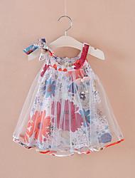 voordelige -Baby Meisjes Boho Bloemen Mouwloos Boven de knie Polyester Jurk blauw