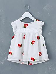 voordelige -Baby Meisjes Boho Fruit Geborduurd Mouwloos Boven de knie Katoen Jurk Wit