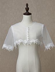 ราคาถูก -ครึ่งแขน ลูกไม้ / Tulle งานแต่งงาน / งานปาร์ตี้ / งานราตรี Women's Wrap กับ เข็มกลัด / ปุ่ม Boleros