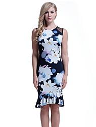 זול -מידי פרנזים, פרחוני - שמלה נדן בסיסי בגדי ריקוד נשים