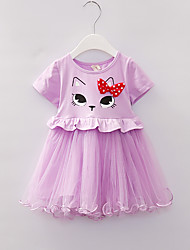 voordelige -Baby Meisjes Standaard Print Korte mouw Boven de knie Polyester Jurk Blozend Roze