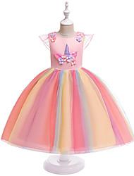 cheap -Kids Girls' Active / Sweet Patchwork Short Sleeve Knee-length Dress Pink