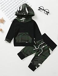 billige -Baby Gutt Fritid / Grunnleggende Trykt mønster Langermet Normal Bomull Tøysett Militærgrønn