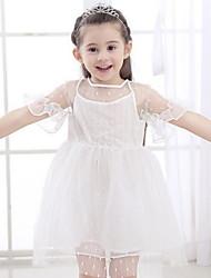 Χαμηλού Κόστους -Παιδιά Κοριτσίστικα χαριτωμένο στυλ Μονόχρωμο Δίχτυ Κοντομάνικο Πάνω από το Γόνατο Πολυεστέρας Φόρεμα Λευκό