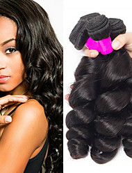 cheap -3 Bundles Brazilian Hair Loose Wave Remy Human Hair Natural Color Hair Weaves / Hair Bulk Extension Bundle Hair 8-28 inch Natural Color Human Hair Weaves Valentine Sexy Lady New Arrival Human Hair