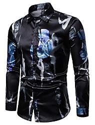billige -Skjorte Herre - Fargeblokk, Trykt mønster Svart L
