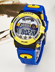 Недорогие -OHSEN Для пары электронные часы Цифровой Pезина Синий / Розовый / Фиолетовый 50 m Защита от влаги Календарь Секундомер Цифровой На каждый день Цветной - Синий Розовый Светло-синий