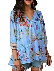 billige -V-hals Løstsiddende Dame - Geometrisk Skjorte