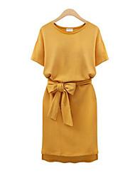 preiswerte -Damen Grundlegend Street Schick Hülle Kleid - mit Schnürung Kordelzug, Solide Übers Knie