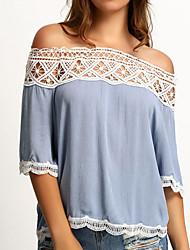 hesapli -Kadınların ab / us beden tişört - katı renkte omuz