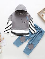 זול -סט של בגדים שרוולים קצרים / שרוול ארוך פסים / קולור בלוק בנים תִינוֹק