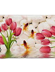 رخيصةأون -1PC زهري مماسح الحمام كورال فيلف طباعة زهور 5mm مضاد للانزلاق / تصميم جديد / سهلة التنظيف