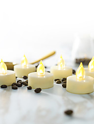 رخيصةأون -6PCS الصمام ليلة الخفيفة / ضوء الشمعة أصفر زر البطارية بالطاقة سهل الحمل / الأمان / مصباح الجو