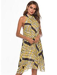 Χαμηλού Κόστους -Γυναικεία Κομψό Γραμμή Α Φόρεμα - Ριγέ Ως το Γόνατο