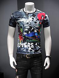 abordables -Hombre Estampado Camiseta Bloques