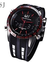 Недорогие -ASJ Муж. электронные часы Японский Цифровой силиконовый Черный Защита от влаги Будильник ЖК экран Аналого-цифровые Мода - Белый Красный Синий Один год Срок службы батареи