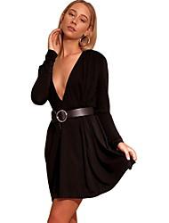 رخيصةأون -المرأة فوق الركبة اللباس البديل ضئيلة الخامس الرقبة أبيض أسود ق م ل