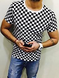 저렴한 -남성용 체크 라운드 넥 슬림 플러스 사이즈 티셔츠