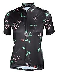 お買い得  -ILPALADINO 女性用 半袖 サイクリングジャージー - ブラック バイク ジャージー UV耐性 スポーツ ポリエステル100% トライアスロン 衣類