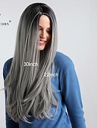 Χαμηλού Κόστους -Συνθετικές Περούκες Κατσαρά Ίσια Στυλ Μέσο μέρος Χωρίς κάλυμμα Περούκα Σκούρο γκρι Μαύρο / Γκρι Συνθετικά μαλλιά 30 inch Γυναικεία συνθετικός / Μαλλιά με ανταύγειες / Μαλλιά μπαλαγιάζ Σκούρο γκρι