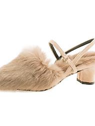 ราคาถูก -สำหรับผู้หญิง ขนเทียม ฤดูหนาว รองเท้าไม้ & รองเท้าหัวทู่ ส้นหนา สีดำ / ผ้าขนสัตว์สีธรรมชาติ / สีกากี