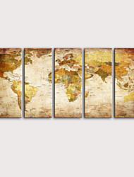 Недорогие -С картинкой Роликовые холсты Отпечатки на холсте - Абстракция Карты Modern 5 панелей Репродукции