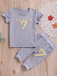 preiswerte -Baby Jungen Grundlegend / Street Schick Solide / Geometrisch Druck Kurzarm Standard Standard Baumwolle Kleidungs Set Blau