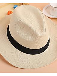 Недорогие -Жен. Классический Соломенная шляпа Солома,Однотонный Бежевый Желтый Хаки