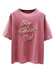 hesapli -Kadın pamuklu tişört - mektup yuvarlak boyun