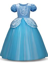 levne -Princess Long Length Šaty pro květinovou družičku - Polyester / Tyl Krátký rukáv Klenot s Aplikace / Vrstvy podle LAN TING Express