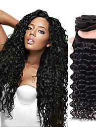 Недорогие -4 Связки Перуанские волосы Глубокий курчавый человеческие волосы Remy Человека ткет Волосы Пучок волос Накладки из натуральных волос 8-28 дюймовый Естественный цвет Ткет человеческих волос