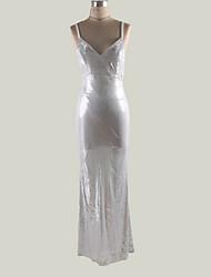 cheap -Women's Basic Sheath Dress - Solid Colored Silver M L XL