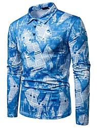 preiswerte -Herrn Einfarbig / Buchstabe Polo Druck Blau L