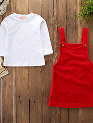 tanie -Dzieci / Brzdąc Dla dziewczynek Aktywny / Podstawowy Solidne kolory Długi rękaw Bawełna / Spandeks Komplet odzieży Czerwony