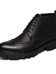 cheap -Men's Comfort Shoes Leather / Faux Leather Spring &  Fall Casual / British Boots Non-slipping Booties / Ankle Boots Black