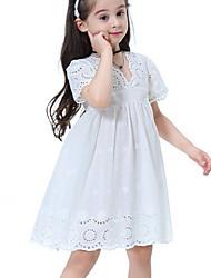 Χαμηλού Κόστους -Παιδιά Κοριτσίστικα Βασικό Μονόχρωμο Με κοψίματα Κοντομάνικο Ως το Γόνατο Πολυεστέρας Φόρεμα Λευκό