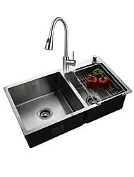 Недорогие -Kitchen Sink- Нержавеющая сталь Матовый Прямоугольный Undermount Двойная чаша