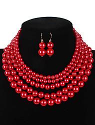 povoljno -Žene Geometrijski Nakit Set Imitacija bisera Jednostavan, slatko, Moda, Slatka Style, Elegantno uključiti Ogrlica Naušnica Igazgyöngy nyaklánc Braon / Crvena / Tamno crvena Za Vjenčanje Party Dnevno