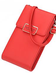Недорогие -Жен. PU Мобильный телефон сумка Сплошной цвет Черный / Небесно-голубой / Розовый / Наступила зима