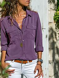 Недорогие -Жен. Пэчворк Рубашка Хлопок, Рубашечный воротник Уличный стиль Однотонный Серый