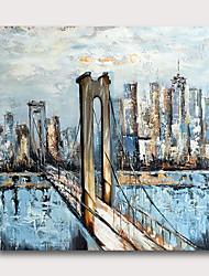 povoljno -ručno oslikana rastegnut ulje na platnu platnu spreman objesiti apstraktni stil materijala visoke količine plave zgrade most