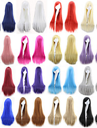 cheap -Synthetic Wig Straight Style Middle Part Capless Wig Ombre Natural Black Rose / Green Bright Purple Synthetic Hair 24 inch Women's Party Ombre Wig Long Natural Wigs