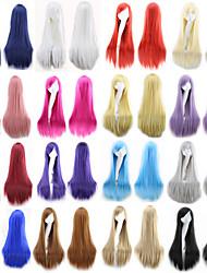 halpa -Synteettiset peruukit Suora Tyyli Keskiosa Suojuksettomat Peruukki Ombre Musta Rose / vihreä Kirkas violetti Synteettiset hiukset 24 inch Naisten Party Ombre Peruukki Pitkä Luonnollinen peruukki