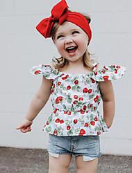 tanie -Dzieci / Brzdąc Dla dziewczynek Aktywny / Podstawowy Kwiaty / Nadruk Wiązanie / Nadruk Bez rękawów Regularny Bawełna / Spandeks Komplet odzieży Czerwony