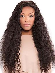 halpa -Synteettiset peruukit Syvät aallot Tyyli Keskiosa Suojuksettomat Peruukki Tummanruskea Musta / Ruskea Synteettiset hiukset 28 inch Naisten Naisten Tummanruskea Peruukki Pitkä Luonnollinen peruukki