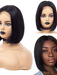 voordelige -Human Hair Capless Pruiken Echt haar Recht Korte Bob Stijl Feest / Dames / Beste kwaliteit Kort Kanten Voorkant Pruik Braziliaans haar Dames