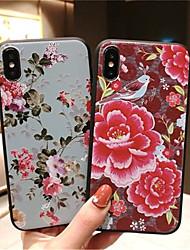 저렴한 -케이스 제품 Apple iPhone X / iPhone XS Max 반투명 뒷면 커버 꽃장식 소프트 TPU 용 iPhone XS / iPhone XR / iPhone XS Max